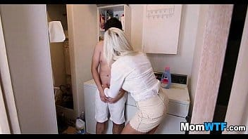 Blonde Stepmom seduces son